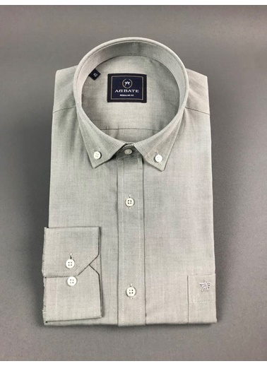 Abbate Oxford Düğmelı Yaka Regular Fıt Ceplı Casual Gömlek Gri